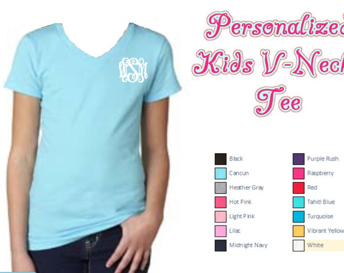 Personalized Kids tShirt, V-neck, Monogram girls shirt, Monogram tee, Personalized shirt, monogram tshirt