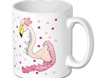 """Flamingo hand illustrated """"lets flamingle"""" novelty white ceramic mug. 325ml"""