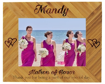 Bridesmaid Frame, Maid of Honor Picture Frame, Bridesmaid Picture Frame, Personalized Bridesmaid Frame, Bridesmaid Photo, Wood Picture Frame