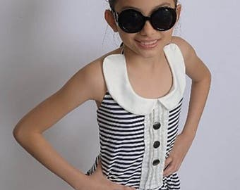 Classic Stripes swimsuit with sunglasses included for girls