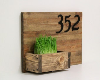 House Numbers Sign, Planter box, Rustic Address Planter, Address Sign, Address Plaque,  Address Planter, Housewarming gift, Gift for home
