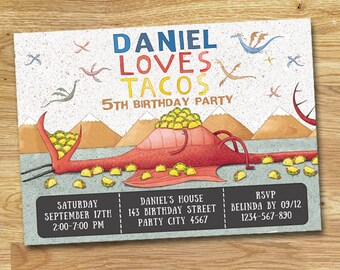 Dragons Love Tacos Birthday Party Invitation // DIGITAL FILE ONLY