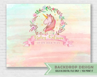 Unicorn Party Backdrop Banner // DIGITAL FILE Only