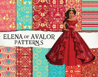 12 Elena of Avalor patterns, clipart, sheets, seamless, scrapbooking, digital paper, invitation, birthday party background