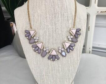 Mauve/Pink Bib Necklace