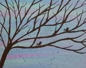 Birds in a tree silhouette print