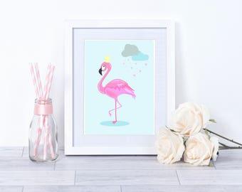 Flamingo print, Princess Flamingo Print, girl's bedroom wall art, pink flamingo, nursery decor, nursery print