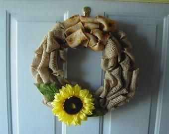 Burlap Wreath w/yellow Sunflower
