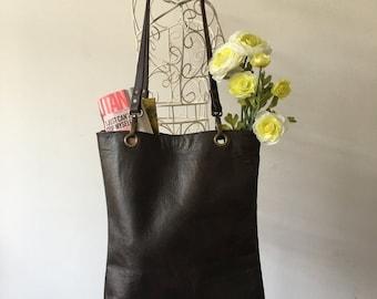 Leather Tote | Chocolate Brown | Soft Leather Handbag | Purse