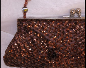 BROWN BEADED CLUTCH Evening Bag Beaded Clutch Purse Vintage Purse by BrowseMyVintageShop