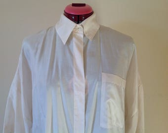 80s vintage designer  Saint Germain oversized shoulder slouchy silk blouse working girl size s