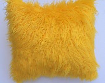 Yellow faux Fur Pillow -decorative pillow-throw pillow- Neutral Pillow - Pillow Cover -  Toss Pillow