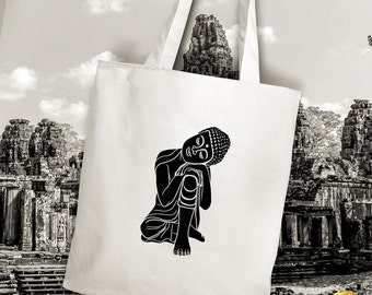 Little Buddhist Monk Buddha Taking A Nap Tote Bag, Handmade And Unique