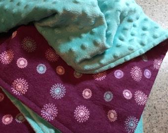 Baby Blanket; Baby Girl Blanket; Handmade Flannel Minky Blanket; Baby Gift