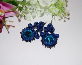 Earrings blue soutache, soutache earrings, drop earrings