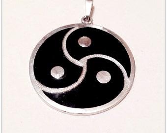 BDSM Triskele Symbol pendant,Large BDSM Emblem Handmade Pendant Steling silver (925), Black Enamel