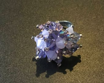 Swarovski bicone adjustable ring
