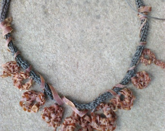 Linen necklace and cherry bark