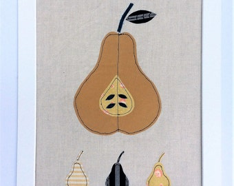 Scaninavian Style Textile Art Picture, mustard coloured half Pear