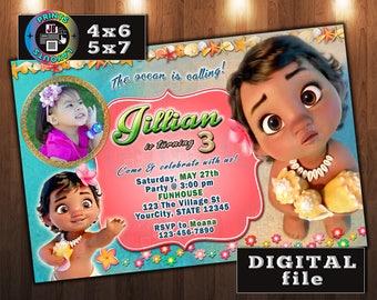 Baby MOANA Birthday Invitation, CUSTOM Digital File, Any age, With Photo (MD#5)