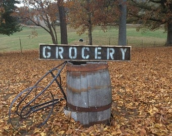 "Wooden Distressed ""GROCERY"" sign"