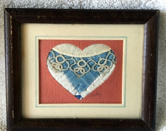Framed Delicate Needlework/Handiwork (Hearts w/Lace)