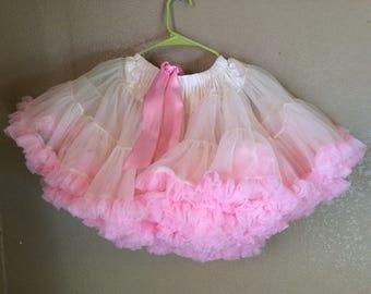Pink and ivory full, fluffy, pettiskirt, tutu, size medium