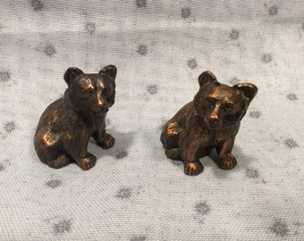 Bear salt and pepper shakers, copper, vintage, collectible