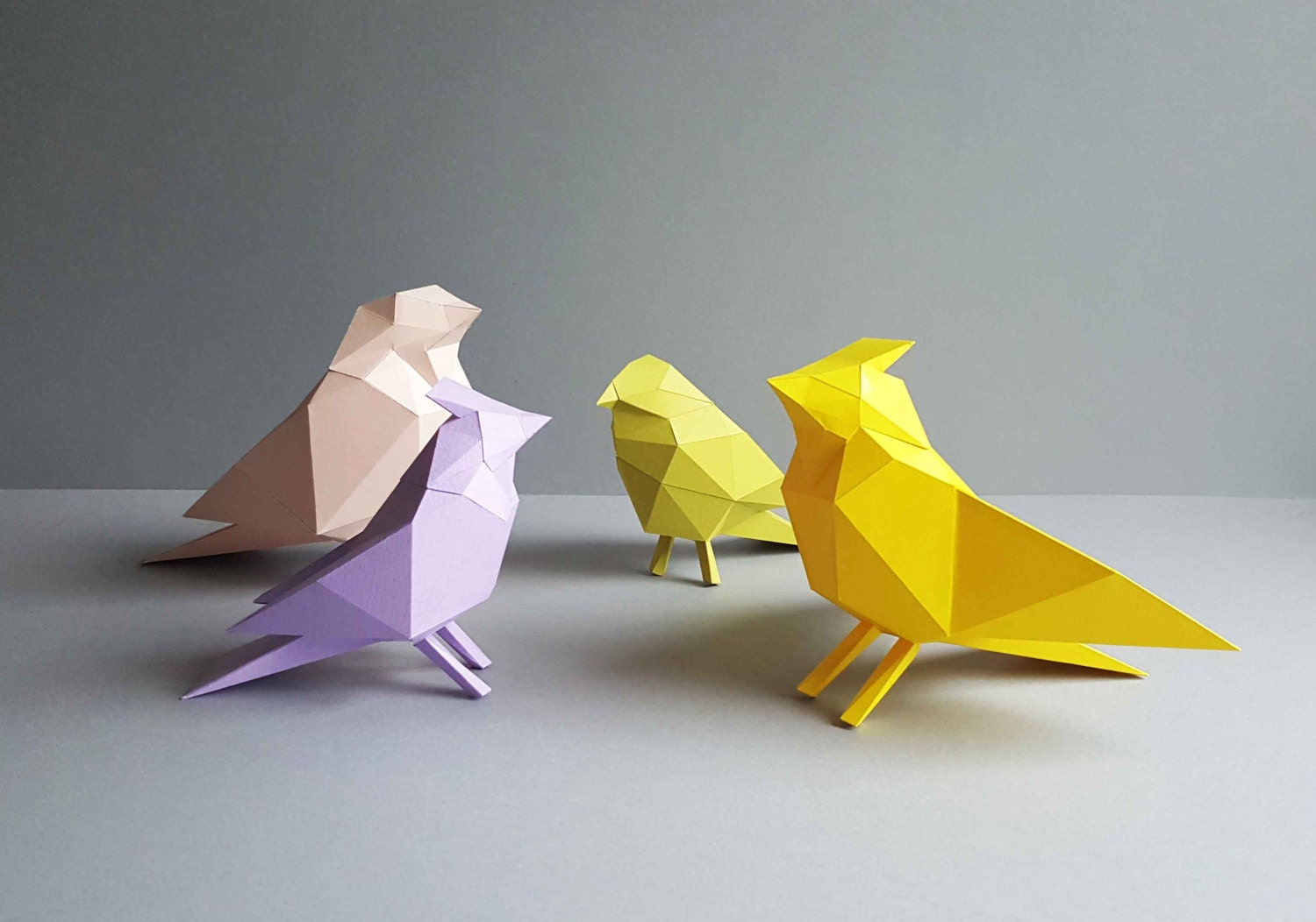 4 birds papercraft home decoration paper animals kit for Paper craft home