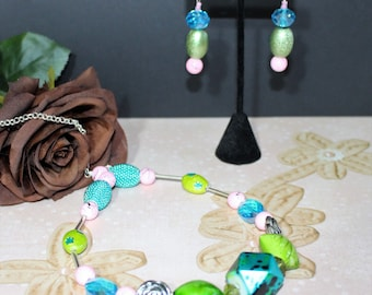 Vision in teal, green ,and pink matinee necklace and earrings