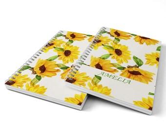 Sunflowers Notebook.  Hard Cover Spiral Notebook. Notepad. Journal.