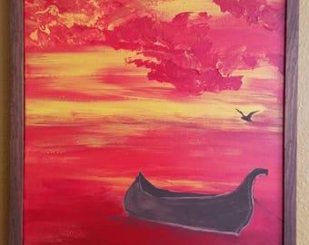 Boat at red dawn