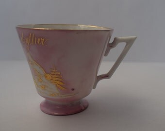 Metalic Pink and Gold Custom Teacup Candle
