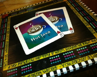 Hand carved, hand painted cribbage table art.