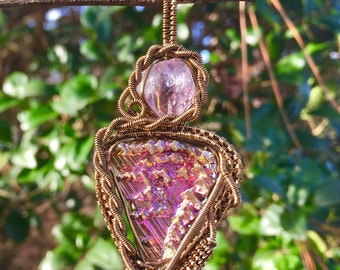 Amethyst & bismuth antique brass wire wrapped pendant