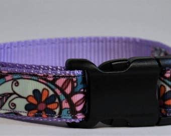 "Multi-color Flowers on Purple adjustable dog collar - 1"" wide"