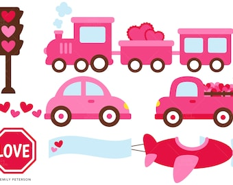 Valentine Car, Truck, Train, Airplane - Cute Clipart, Clip Art - Commercial Use, Instant Download