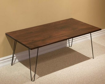 SPNC22 Solid Wood Pine Coffee Table w/2-rod Hairpin Legs