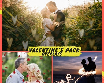 Valentine's Day Overlays, Valentine's Overlays, Photoshop Overlays, Hearts Bokeh overlays, Sparklers overlays, Roses Overlays, Overlay Pack