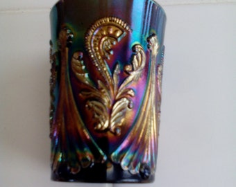 Carnival Glass Tumbler - Feather Scroll