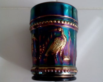 Carnival Glass Tumbler - Stork and Rushes