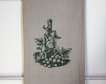 Green toile tea towel. It's wine time with this classic design