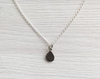 Black Spinel Teardrop Necklace