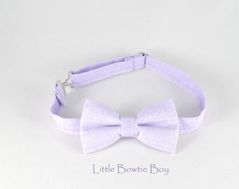 Lavender bow tie with pearl texture. Lilac Easter pastel bow tie, adjustable boy bow tie, light color baby bow tie, cotton bow ties f