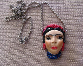Frida Kalho in polymer clay necklace/polymer clay WEARABLE ART