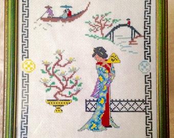Finished Framed Cross Stitch Geisha