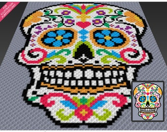Sugar Skull crochet blanket pattern; c2c, cross stitch; knitting; graph; pdf download; no written counts or row-by-row instructions