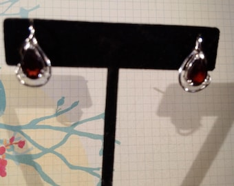 Garnet Gemstone Solid Sterling Silver Earrings