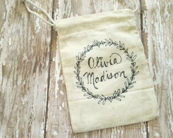 5 Hand Drawn Personalized Bridal/Baby Shower Favor Bags