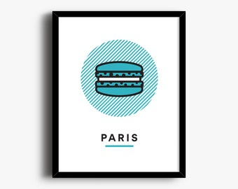 Paris Poster, Macaron Print, City Art, City Wall Art, Wall Art, Printable Art, City Poster, Travel Print, Macaron, Line Art